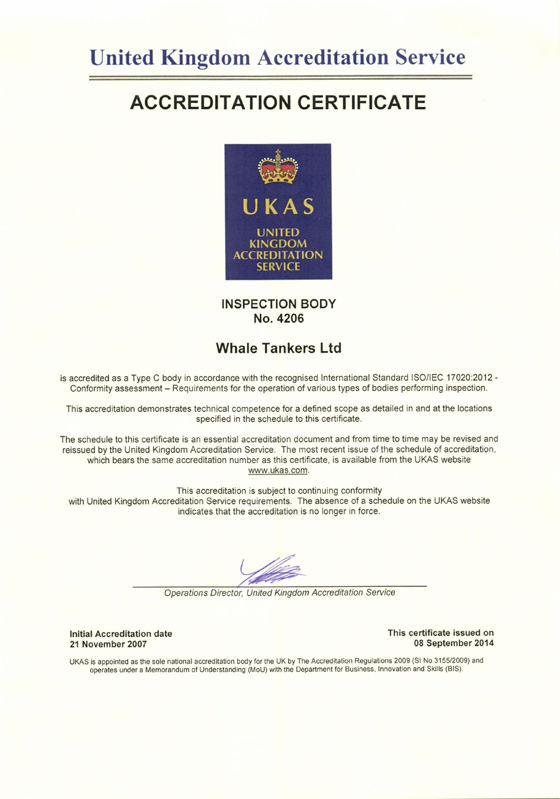 UKAS Accreditation Certificate